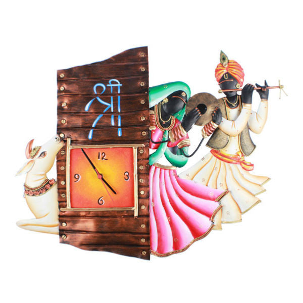 Radha Krishna Cow Wall Clock - Giftingnation - 1