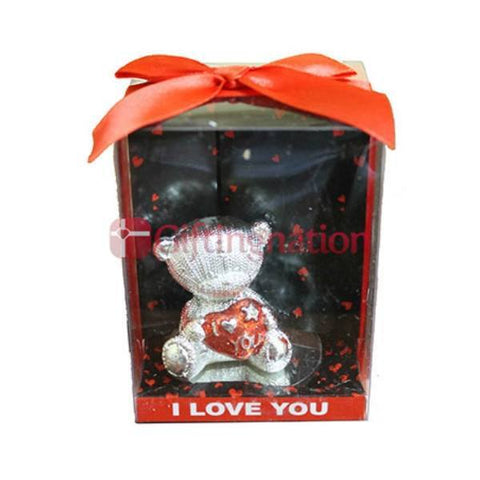 Valentine Gift I Love You Silver Teddy - Giftingnation
