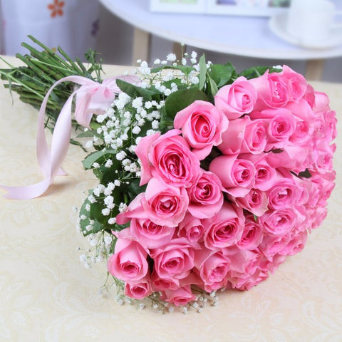 Fresh 35 Pink Roses Hand Tied Bouquet