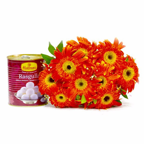 Bouquet of Ten Orange Gerberas with Rasgullas