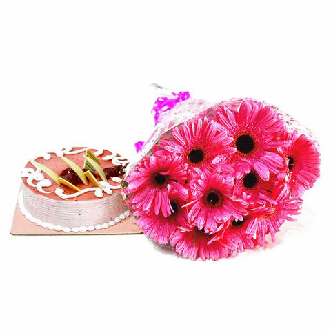 Pink Gerberas Bouquet with Strawberry Cake