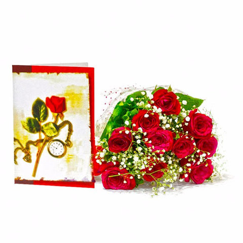 Ten Red Roses Bouquet with Greeting Card
