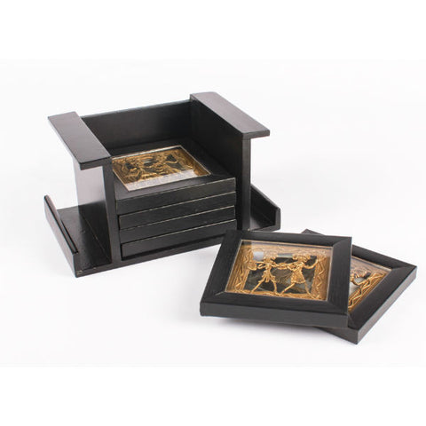 black coasters with small Dhokra Art figurines - Giftingnation - 1