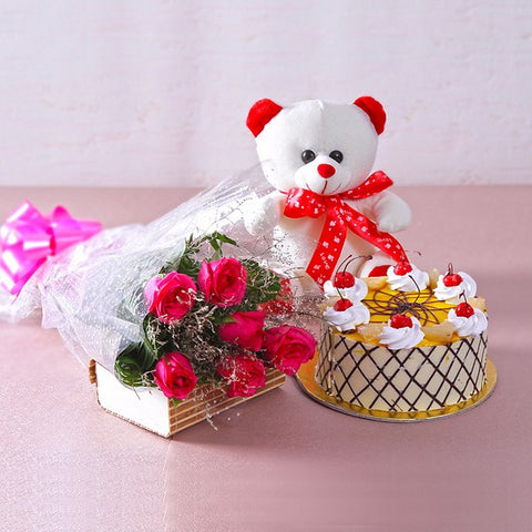 Bouquet of Pink Roses with Butterscotch Cake and Cuddly Bear