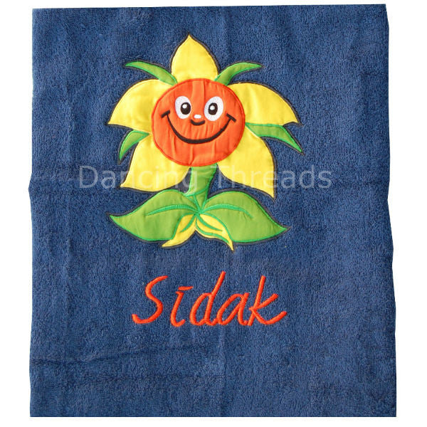 Personalized Bath Towel Smiling Flower Navy Blue - Giftingnation