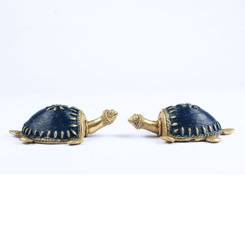 Dhokra Tortoise Table Top Set- Blue - Giftingnation