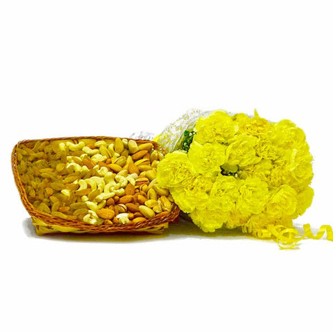 Bouquet of 20 Yellow Carnation with Basket of Assorted Dry Fruits