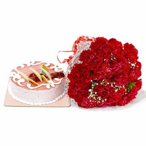 Bouquet of Red Carnations with Strawberry Cake