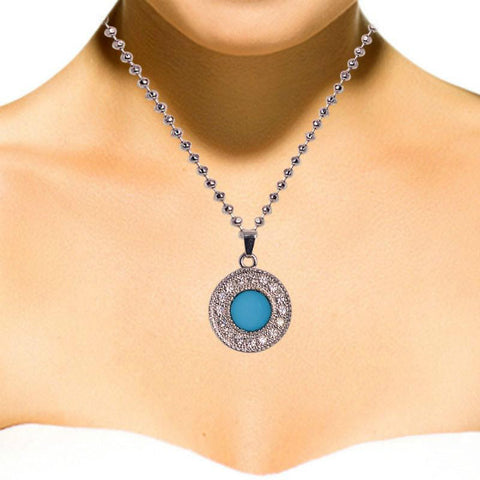 Classy Crsytal Studded Silver and Blue Necklace Set - Giftingnation - 2