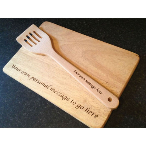 Wooden Engraved Spatula and Engraved Chopping Board