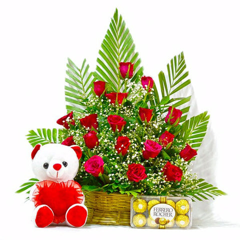 Basket of Red Roses with Ferrero Rocher Chocolates and Teddy Bear