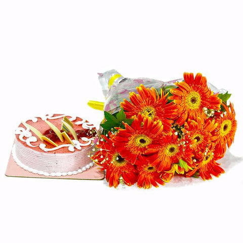 Orange Gerberas Bouquet with Strawberry Cake