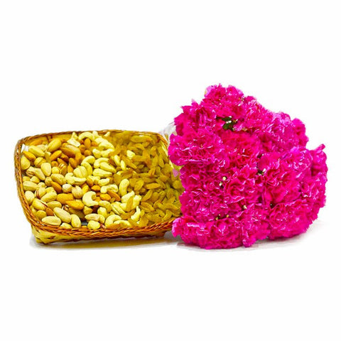 Bouquet of 15 Pink carnations with Dry Fruits in a Basket