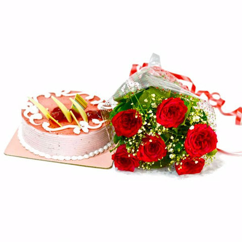 Six Red Roses Bunch with Strawberry Cake