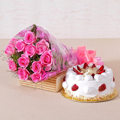 Roses and Strawberry Cake for any Occasion
