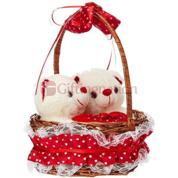 Twin Teddy Bears in Basket Red - Giftingnation