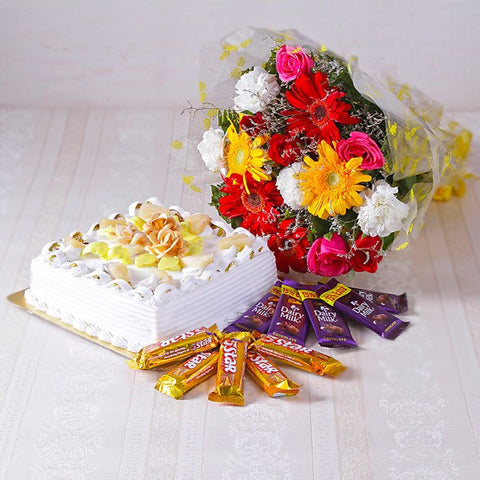 Mix flowers Bouquet with Pineapple Cake and Assorted Chocolates