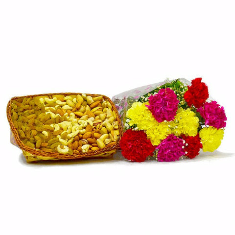 Bouquet of 10 Colorful Carnations with Mix Dry Fruits in a Basket