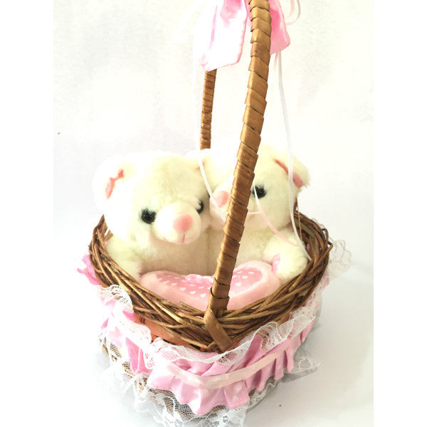 Twin Teddy Bears in Basket Pink - Giftingnation