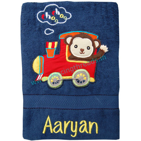 Personalized Bath Towel Engine Navy Blue - Giftingnation