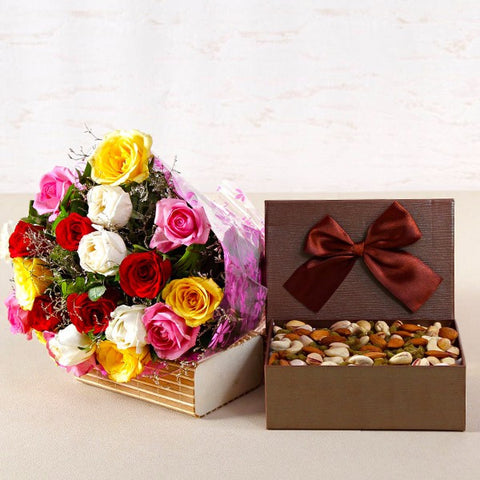 Bouquet of Twenty Mix Color Roses with Assorted Dry Fruits Box