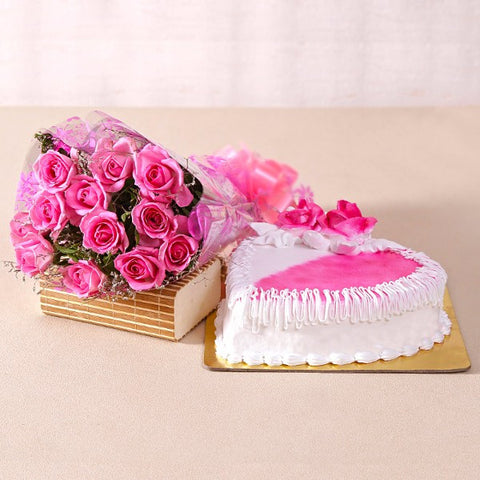 Heartshape Strawberry Cake with Pink Roses Bouquet