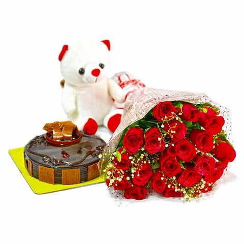 Bouquet of Red Roses with Cute Teddy and Chocolate Cake