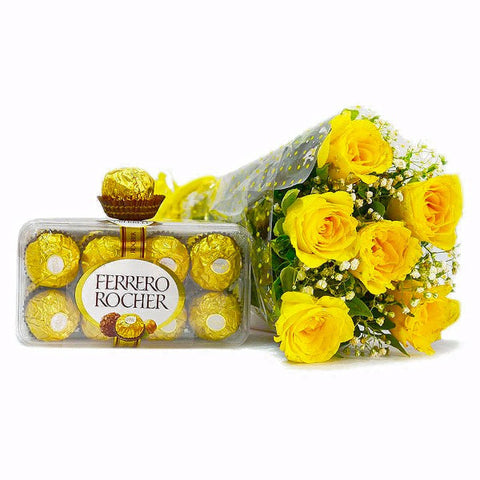 Bunch of Yellow Roses with Ferrero Rocher Chocolate Box