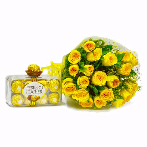 Bouquet of 20 Yellow Roses with 200 Gms Fererro Rocher Chocolate Box