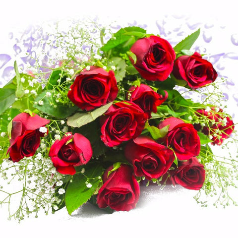 Bunch of Fresh 12 Red Roses