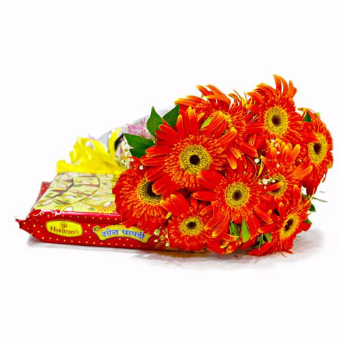 Bouquet of Ten Orange Gerberas with Soan Papdi