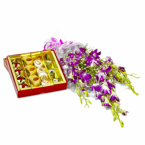 Bouquet of Six Purple Orchids with Box of Assorted Sweets