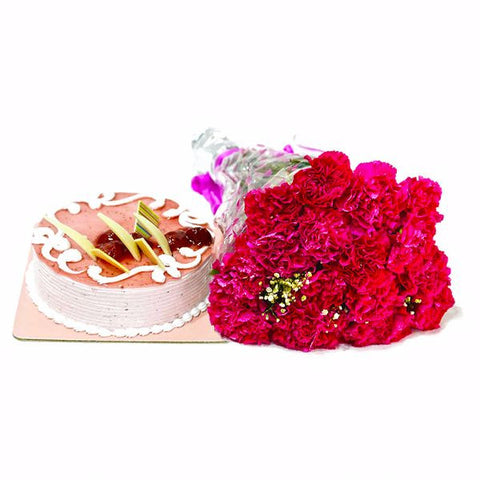 Bouquet of Pink Carnations with Strawberry Cake