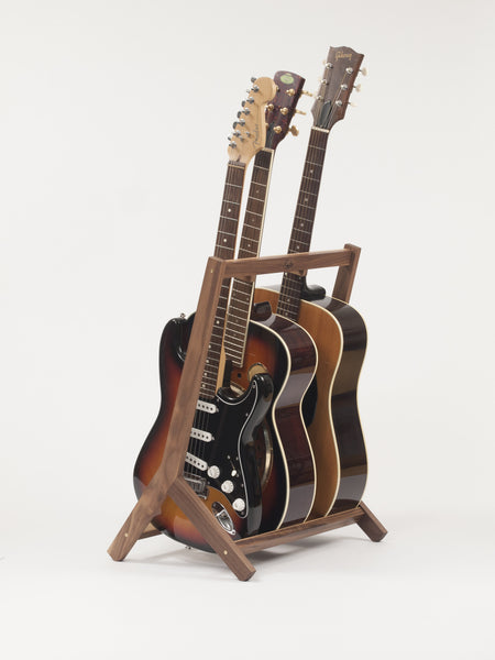 Wooden Multi Guitar Stand, Walnut