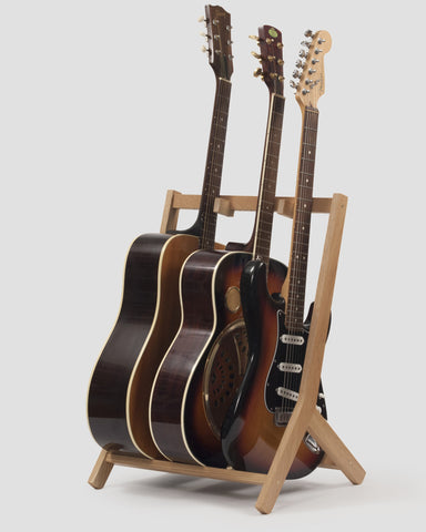 Wooden Multi Guitar Stand, Oak