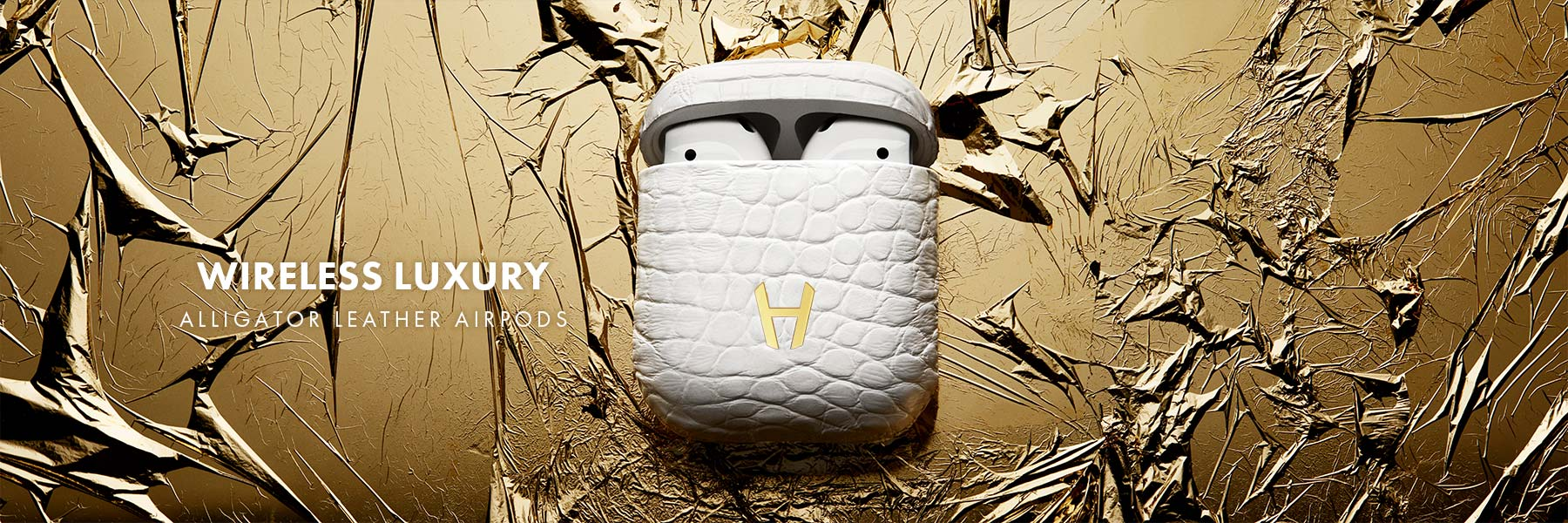 Luxury Custom Alligator White AirPods by Hadoro Paris