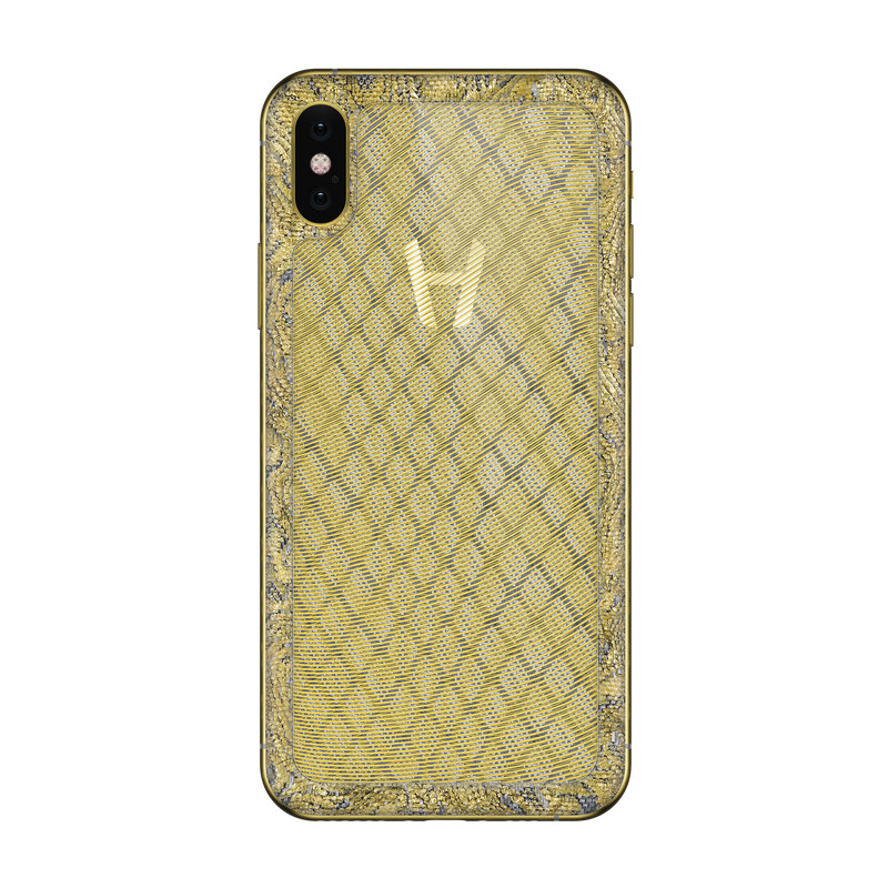 Hadoro iPhone Xs Moire Gold with-phone
