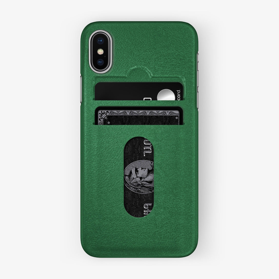 Calfskin Card Holder Case iPhone X/Xs | Green - Stainless Steel