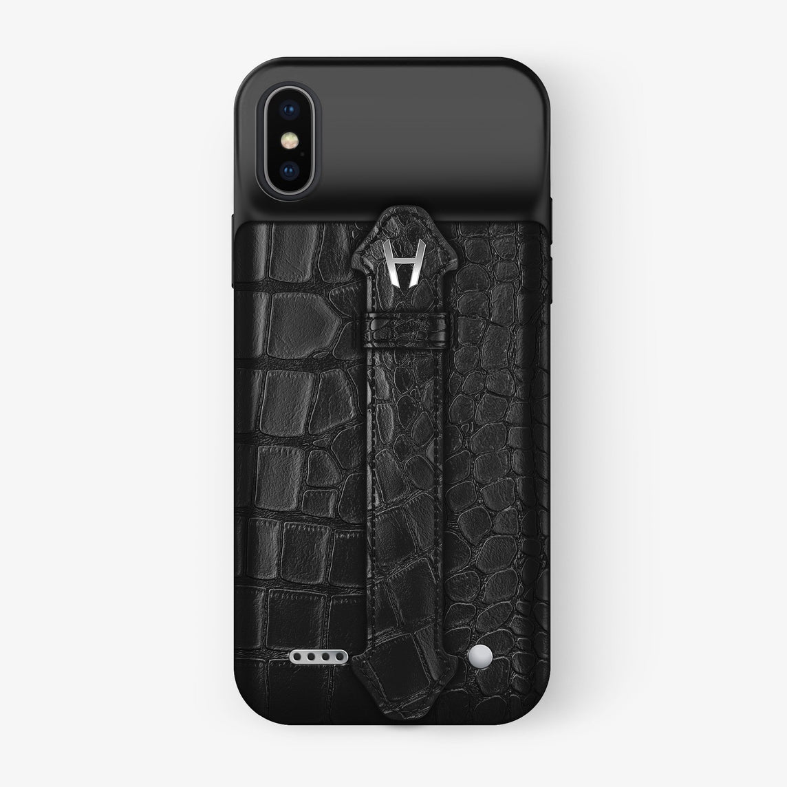 Alligator iPhone Xs Max Battery Finger Case | Black - Stainless Steel with-personalization