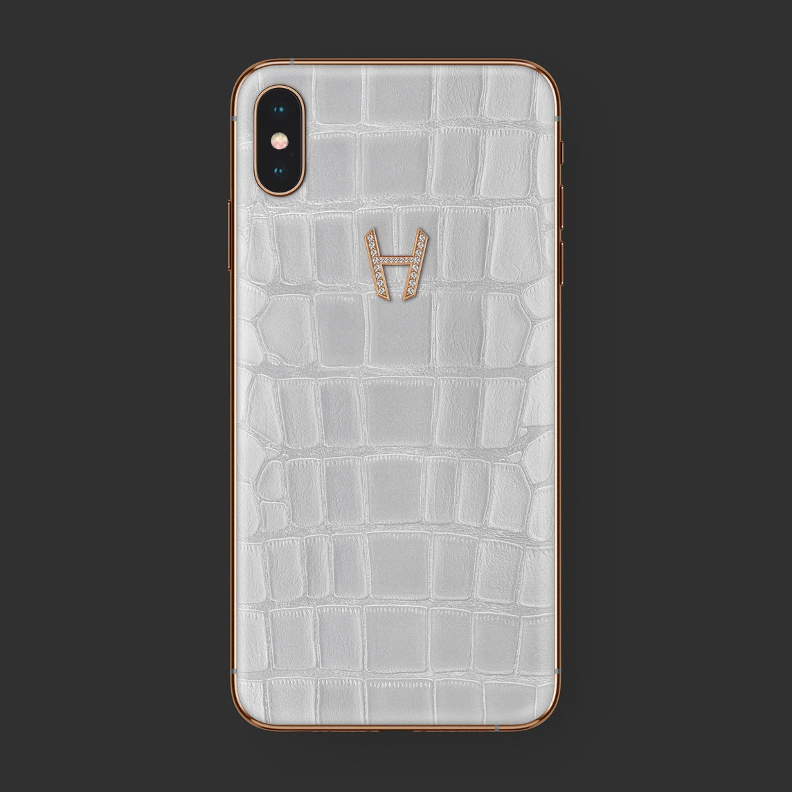 Hadoro iPhone Xs Max Signature | Alligator | Gold — Diamonds | White with-phone