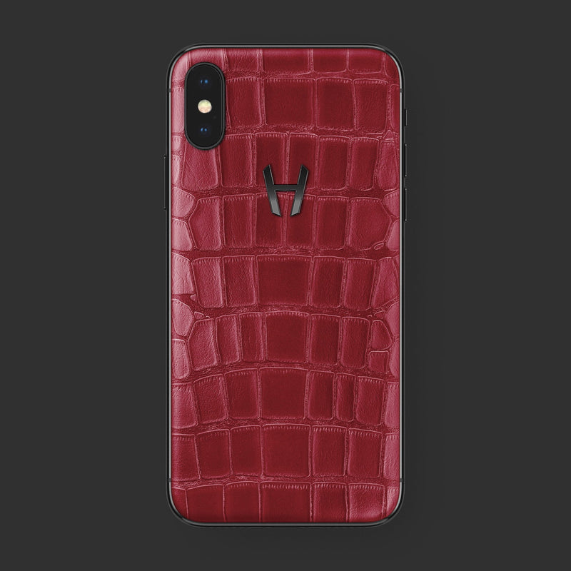 Hadoro iPhone Xs Signature | Alligator | Stainless Steel | Red with-phone