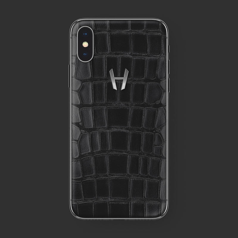 Hadoro iPhone Xs Signature | Alligator | Stainless Steel | Black with-phone