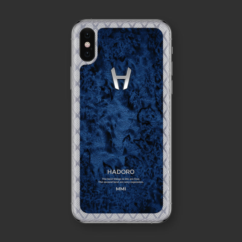 Hadoro iPhone Xs Cobalt Wood with-phone