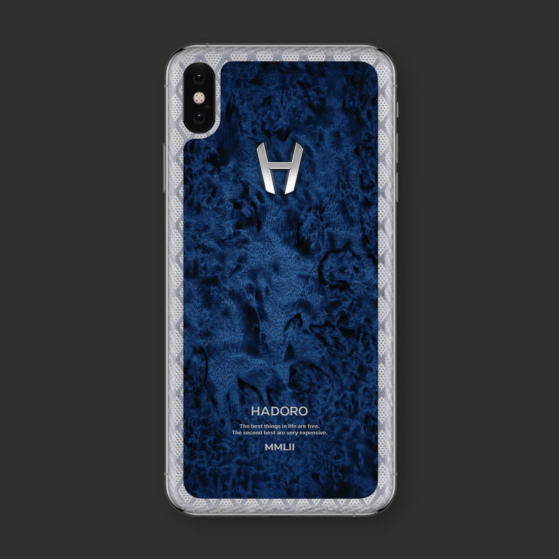 Hadoro iPhone Xs Max Cobalt Wood with-phone