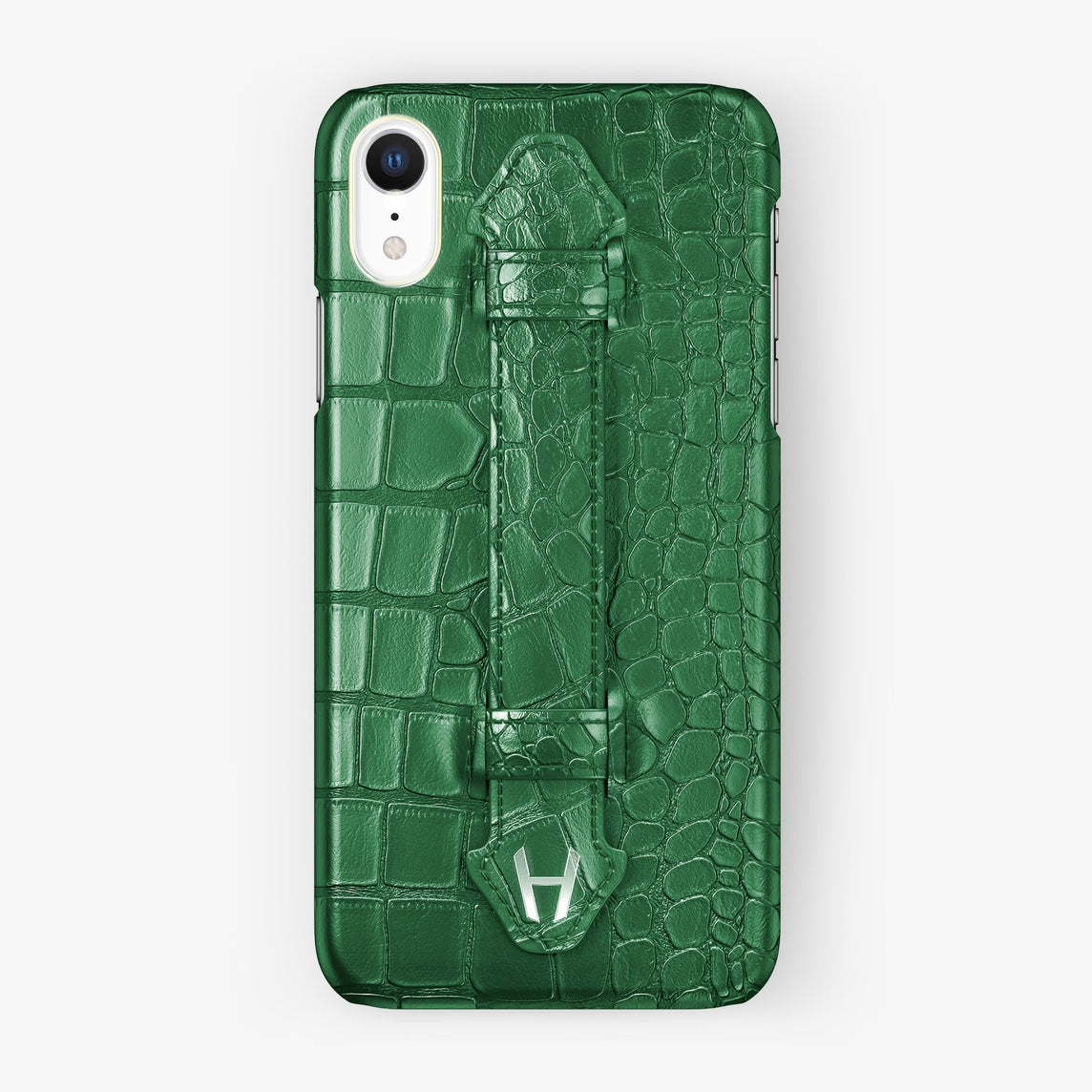 Alligator [iPhone Finger Case] [model:iphone-xr-case] [colour:green] [finishing:stainless-steel]