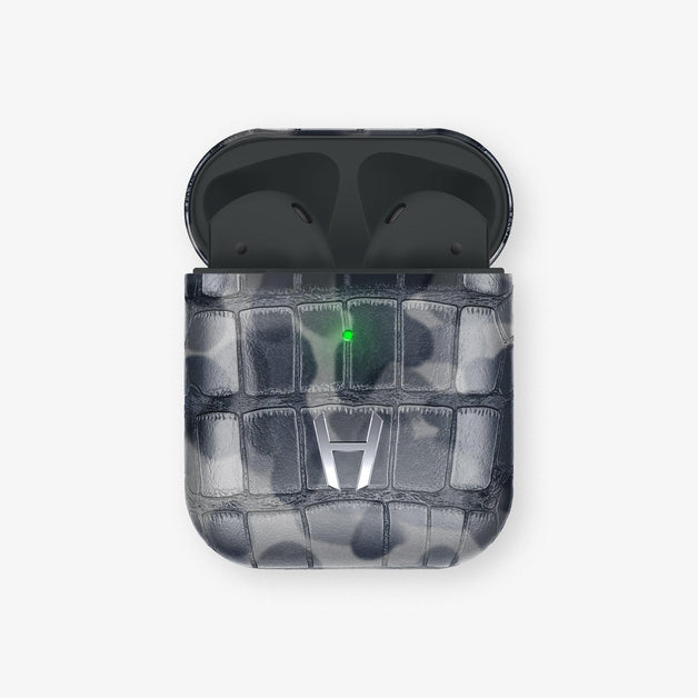 Alligator Airpods Airpods with Wireless Charging Case | Grey Camouflage - Stainless Steel