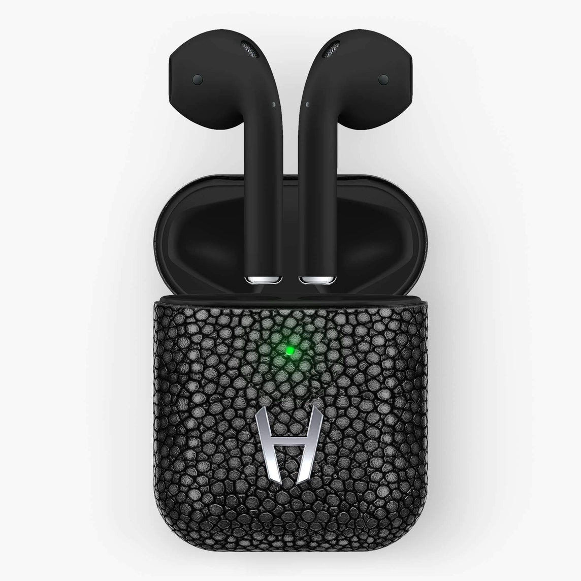 Hadoro Airpods Stingray with Wireless Charging Case | Black - Stainless Steel