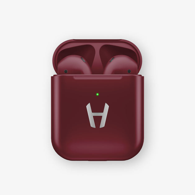 Hadoro AirPods Cherry with Wireless Charging Case | Burgundy - Stainless Steel