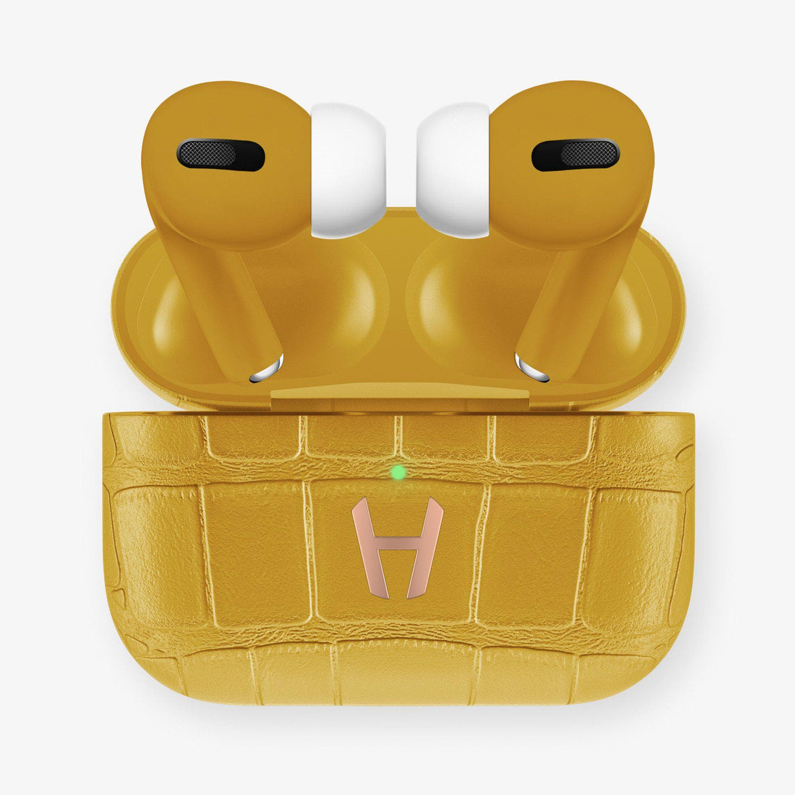 Hadoro AirPods Pro Alligator | Yellow - Rose Gold