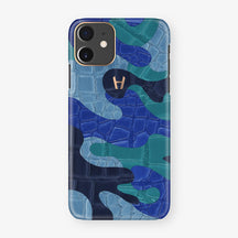Alligator Case Camo iPhone 11 | Blue Ocean - Rose Gold